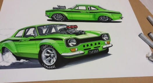 Car Artwork TUF 253 V8 Ford Escort