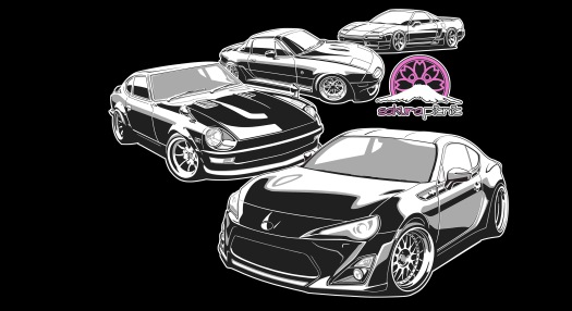 Design Graphic Sakura Picnic Japanese Car Show